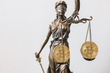 The Statue of Justice- lady justice or Iustitia with Bitcoin digital cryptocurrency- Stock Photo or Stock Video of rcfotostock | RC-Photo-Stock