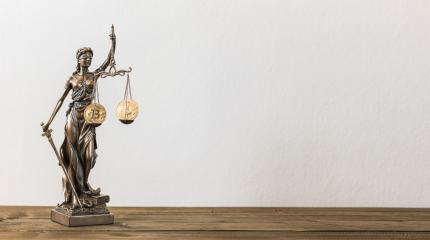 The Statue of Justice- lady justice or Iustitia with Bitcoin digital cryptocurrency, including copy space- Stock Photo or Stock Video of rcfotostock | RC-Photo-Stock