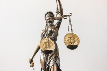 The Statue of Justice with Bitcoin digital cryptocurrency- Stock Photo or Stock Video of rcfotostock | RC-Photo-Stock