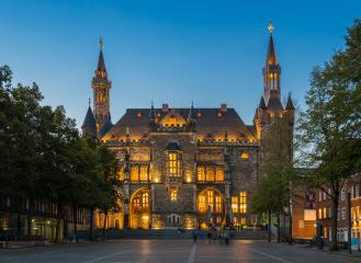the town hall of aachen city at blue hour- Stock Photo or Stock Video of rcfotostock | RC-Photo-Stock