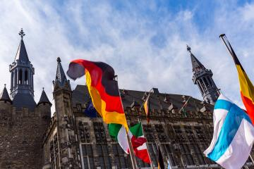 the town hall of aachen with flags- Stock Photo or Stock Video of rcfotostock | RC-Photo-Stock