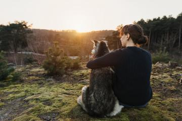 Thoughtful person and dog sit arm in arm in nature and look into the distance. The woman and the husky enjoy and relax during their trip.- Stock Photo or Stock Video of rcfotostock | RC-Photo-Stock
