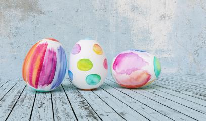 Three Painted easter eggs for Easter in front of a blue grunge background wall, including copy space : Stock Photo or Stock Video Download rcfotostock photos, images and assets rcfotostock | RC-Photo-Stock.: