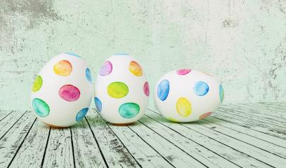 Three Painted easter eggs for Easter in front of a green grunge background wall, including copy space- Stock Photo or Stock Video of rcfotostock | RC-Photo-Stock