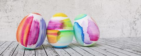 Three Painted easter eggs for Easter in front of grunge background wall, including copy space- Stock Photo or Stock Video of rcfotostock | RC-Photo-Stock