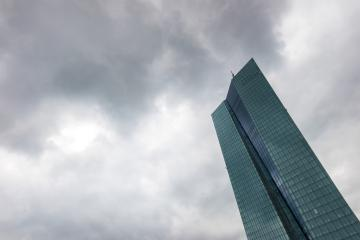 thunderstorm cloudy sky over the headquarters of the European Central Bank or ECB in Frankfurt am Main- Stock Photo or Stock Video of rcfotostock | RC-Photo-Stock