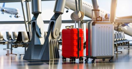 Time to explore. Two travel suitcases in empty departure terminal, vacation concept, suitcases in airport waiting area hall with big light windows- Stock Photo or Stock Video of rcfotostock | RC-Photo-Stock
