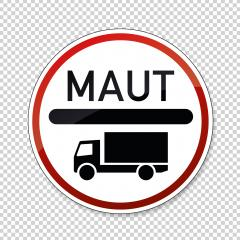 toll obligation for trucks. German traffic sign at a road with toll for heavy trucks on checked transparent background. Vector illustration. Eps 10 vector file.- Stock Photo or Stock Video of rcfotostock | RC-Photo-Stock