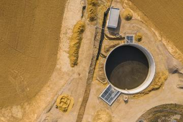 Top down aerial drone image of a sewage treatment (water reclamation) plant Building site- Stock Photo or Stock Video of rcfotostock | RC-Photo-Stock