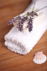 towel with lavender and shell : Stock Photo or Stock Video Download rcfotostock photos, images and assets rcfotostock | RC-Photo-Stock.: