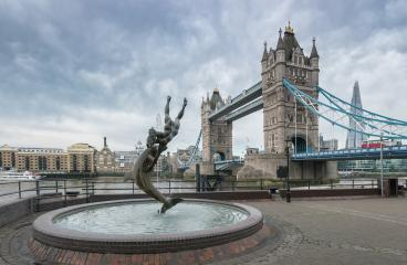 Tower bridge Girl and Dolphin statue against on a cloudy day : Stock Photo or Stock Video Download rcfotostock photos, images and assets rcfotostock | RC-Photo-Stock.: