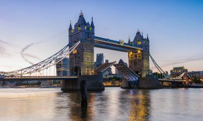 Tower Bridge in London at Sunset, the UK. Drawbridge opening. One of English symbols- Stock Photo or Stock Video of rcfotostock | RC-Photo-Stock