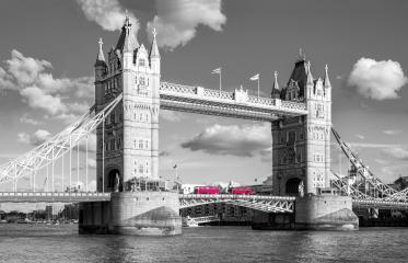 tower bridge with traditional red bus in black and white colors, london, uk : Stock Photo or Stock Video Download rcfotostock photos, images and assets rcfotostock | RC-Photo-Stock.: