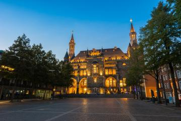 town hall of aachen at a summer sunset- Stock Photo or Stock Video of rcfotostock | RC-Photo-Stock