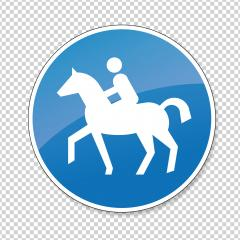 Track for riding road sign. German traffic sign for bridle way on checked transparent background. Vector illustration. Eps 10 vector file.- Stock Photo or Stock Video of rcfotostock | RC-Photo-Stock