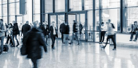 trade fair entrance with Blurred business people- Stock Photo or Stock Video of rcfotostock | RC-Photo-Stock