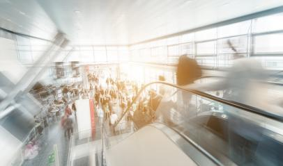 trade fair entrance with people at a escalator- Stock Photo or Stock Video of rcfotostock | RC-Photo-Stock