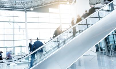 trade fair escalator with blurred people- Stock Photo or Stock Video of rcfotostock | RC-Photo-Stock