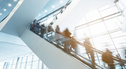 trade fair escalators with blurred business people- Stock Photo or Stock Video of rcfotostock | RC-Photo-Stock