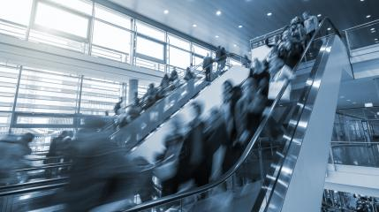 trade fair staircase at Rush Hour- Stock Photo or Stock Video of rcfotostock | RC-Photo-Stock