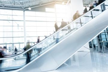 trade fair staircase with blurred business people- Stock Photo or Stock Video of rcfotostock   RC-Photo-Stock