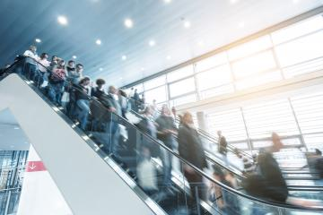trade fair staircase with blurred people- Stock Photo or Stock Video of rcfotostock | RC-Photo-Stock