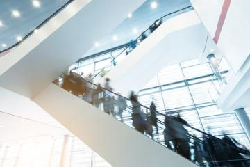 trade fair staircases with blurred people- Stock Photo or Stock Video of rcfotostock | RC-Photo-Stock