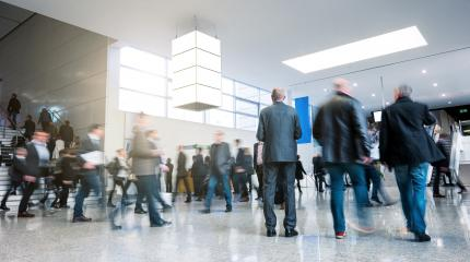 Trade fair visitors rushing in a hall- Stock Photo or Stock Video of rcfotostock | RC-Photo-Stock