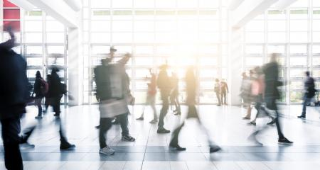 trade fair visitors walking at a floor motion blur- Stock Photo or Stock Video of rcfotostock | RC-Photo-Stock