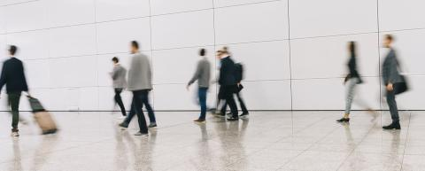 trade fair visitors walking in a clean futuristic corridor- Stock Photo or Stock Video of rcfotostock | RC-Photo-Stock