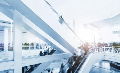 trade show staircase with blurred people- Stock Photo or Stock Video of rcfotostock   RC-Photo-Stock