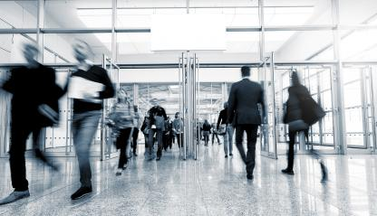 Tradeshow exhibition entrance with Blurred people - Stock Photo or Stock Video of rcfotostock | RC-Photo-Stock