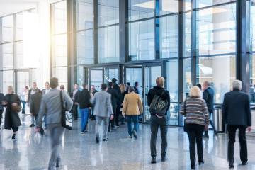 Tradeshow Visitors in a lobby- Stock Photo or Stock Video of rcfotostock | RC-Photo-Stock