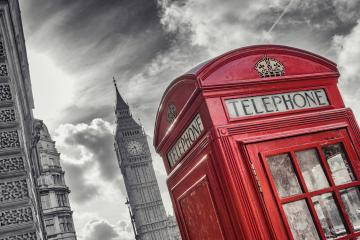 Traditional red british telephone Booth with Big Ben in London, United Kingdom- Stock Photo or Stock Video of rcfotostock | RC-Photo-Stock