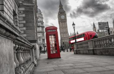Traditional red british telephone box with Big Ben and Double Decker bus- Stock Photo or Stock Video of rcfotostock | RC-Photo-Stock