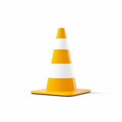 traffic cone with white and orange stripes on white background. 3D rendering- Stock Photo or Stock Video of rcfotostock | RC-Photo-Stock