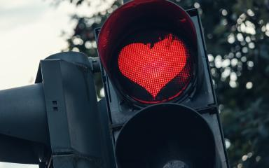 traffic light with red heart-shape in the city : Stock Photo or Stock Video Download rcfotostock photos, images and assets rcfotostock | RC-Photo-Stock.: