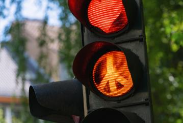 traffic light with red heart-shape Peace sign : Stock Photo or Stock Video Download rcfotostock photos, images and assets rcfotostock | RC-Photo-Stock.: