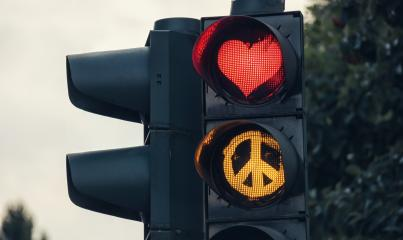 traffic light with red heart-shape Peace sign- Stock Photo or Stock Video of rcfotostock | RC-Photo-Stock