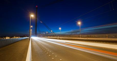 Traffic lightrails at Theodor Heuss bridge in Dusseldorf : Stock Photo or Stock Video Download rcfotostock photos, images and assets rcfotostock | RC-Photo-Stock.: