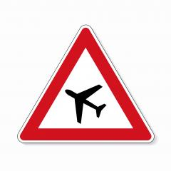 Traffic sign airport. German road warning sign: Low flying airplanes on white background. Vector illustration. Eps 10 vector file.- Stock Photo or Stock Video of rcfotostock | RC-Photo-Stock