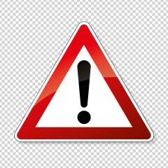 traffic sign attention. German traffic sign of danger or Danger zone on checked transparent background. Vector illustration. Eps 10 vector file.- Stock Photo or Stock Video of rcfotostock | RC-Photo-Stock