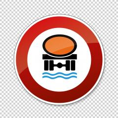 traffic sign Ban for vehicles with a cargo hazardous. German traffic sign prohibiting thoroughfare of vehicles transporting goods dangerous to water reserves on transparent background. Vector Eps 10.- Stock Photo or Stock Video of rcfotostock | RC-Photo-Stock