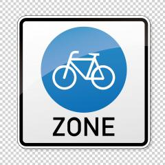 traffic sign bicycle area. German sign at a bicycle zone on checked transparent background. Vector illustration. Eps 10 vector file. : Stock Photo or Stock Video Download rcfotostock photos, images and assets rcfotostock | RC-Photo-Stock.: