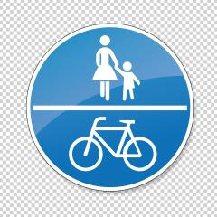 traffic sign bicycle pedestrian area. German traffic sign on a shared-use path on checked transparent background. Vector illustration. Eps 10 vector file.- Stock Photo or Stock Video of rcfotostock | RC-Photo-Stock