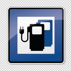 traffic sign Charging station point. German sign Electric vehicle recharging point Ecology friendly electric car charging on checked transparent background. Vector illustration. Eps 10 vector file.- Stock Photo or Stock Video of rcfotostock | RC-Photo-Stock