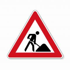traffic sign construction zone. German sign warning about a building site at the road on white background. Vector illustration. Eps 10 vector file.  : Stock Photo or Stock Video Download rcfotostock photos, images and assets rcfotostock | RC-Photo-Stock.: