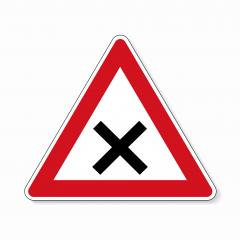 traffic sign crossroad. German sign warning about crossroads on white background. Vector illustration. Eps 10 vector file.- Stock Photo or Stock Video of rcfotostock | RC-Photo-Stock