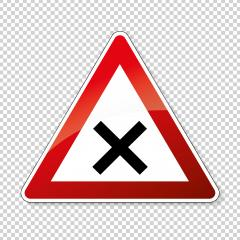 traffic sign crossroad. German sign warning about crossroads on checked transparent background. Vector illustration. Eps 10 vector file.- Stock Photo or Stock Video of rcfotostock | RC-Photo-Stock
