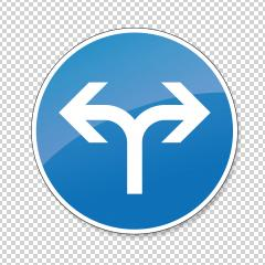 traffic sign direction of travel. German sign restricting the driving direction to left or right on checked transparent background. Vector illustration. Eps 10 vector file.- Stock Photo or Stock Video of rcfotostock | RC-Photo-Stock